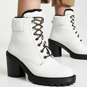 Marc Jacobs White Leather Lace Up Hiking Boots